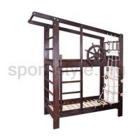 Łóżko piętrowe z drabinką gimnastyczną KAPITAN DARK 190x80