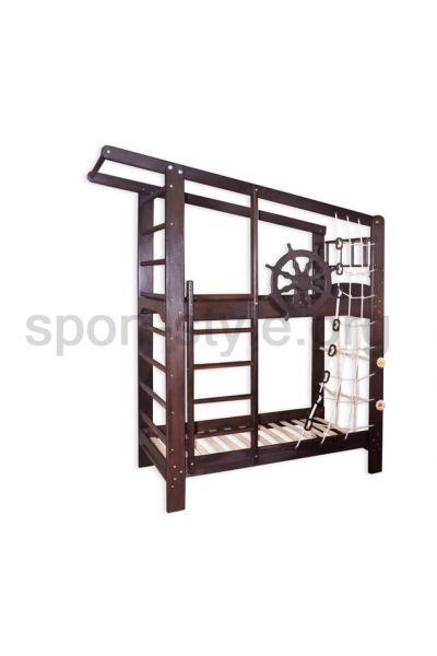 Łóżko piętrowe z drabinką gimnastyczną KAPITAN DARK 160x70