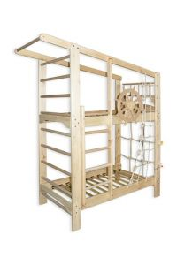 Łóżko piętrowe z drabinką gimnastyczną KAPITAN SOSNA 190x80