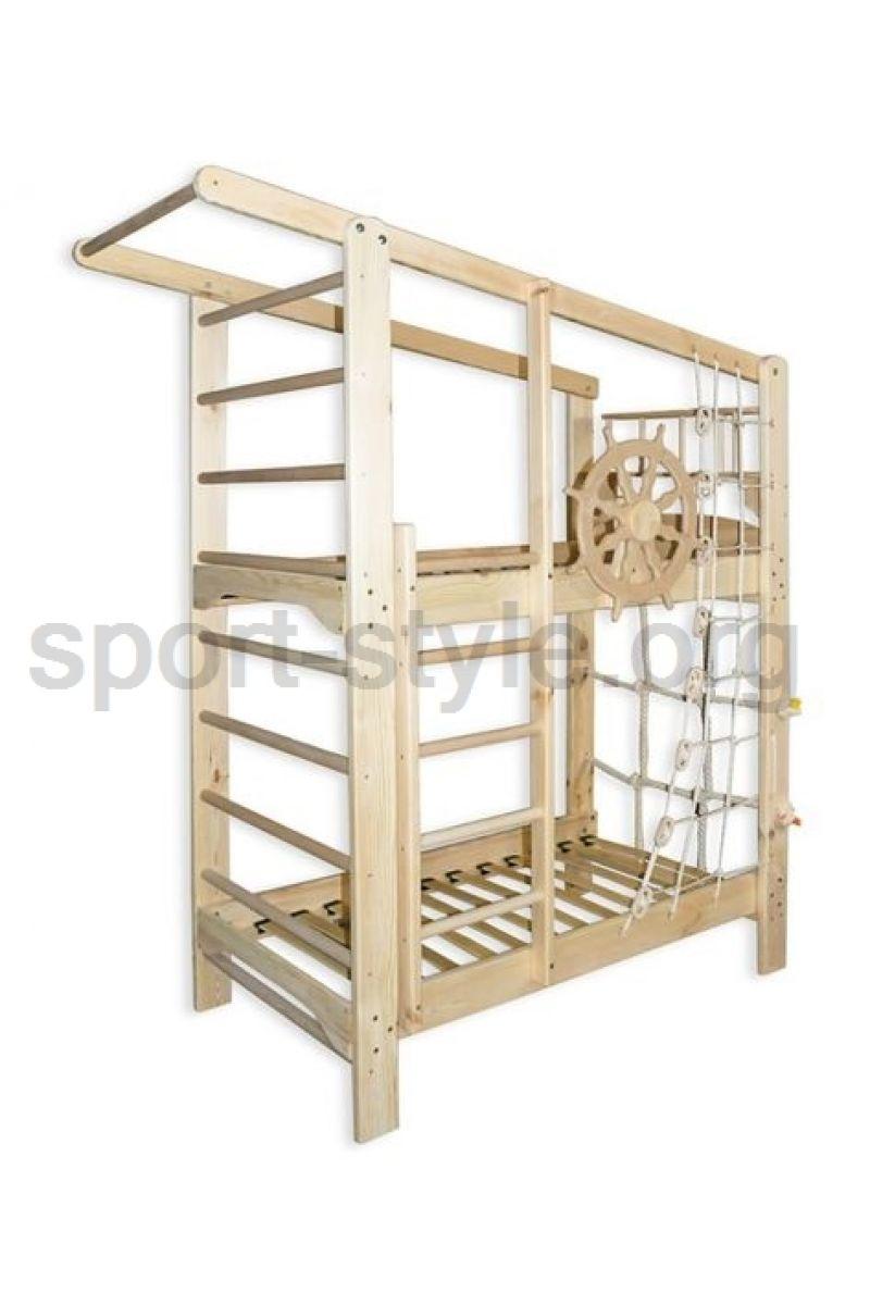 łóżko Piętrowe Z Drabinką Gimnastyczną Kapitan Sosna 160x70