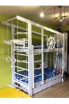 Łóżko piętrowe z drabinką gimnastyczną KAPITAN WHITE 160x70